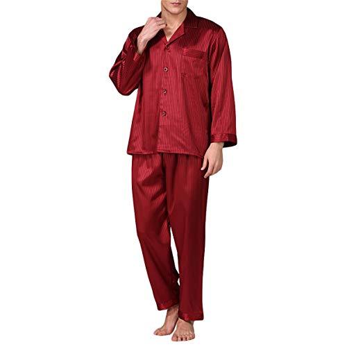Allthemen Herren Satin Pyjama Schlafanzug Lang Hausanzug Nachtwäsche Langarm Shirt und Pyjamahose