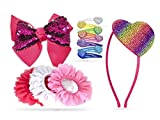 Khristie Girl Hair Clips Rainbow Hearts Theme, Trendy and Stylish Hair Bow, Ribbon, and Headband Kit for Girls, Teens, Kids, Toddlers, and Children   Hair Accessories Set (13 Pieces)