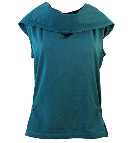 Guru-Shop Ethno Shirt Hoodie Goa Chic, Damen, Petrol, Baumwolle, Size:S (36), Tops & T-Shirts Alternative Bekleidung