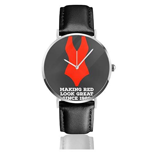 Unisex Business Casual Baywatch Badeanzug Herstellung roter Look tolle Uhren Quarz Leder Uhr mit schwarzem Lederband für Männer Frauen Junge Kollektion Geschenk