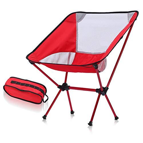 YANXS Silla de Camping Portátil Plegable con Bolsa de Transporte Silla de Playa Carga hasta 150 KG para Senderismo Viaje Pesca Playa Jardin Barbacoa 53 x 35 x 67 cm,Rojo