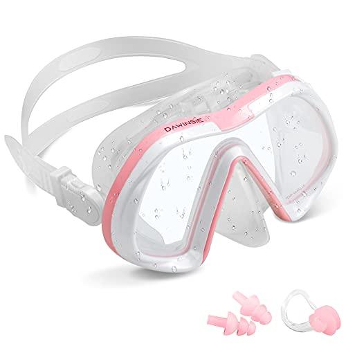 DAWINSIE Gafas de buceo para adultos, gafas natación playa, gran campo visión, máscara unisex con antivaho, protección UV, tapones los oídos y pinzas la nariz incluidas, correa silicona ajustable