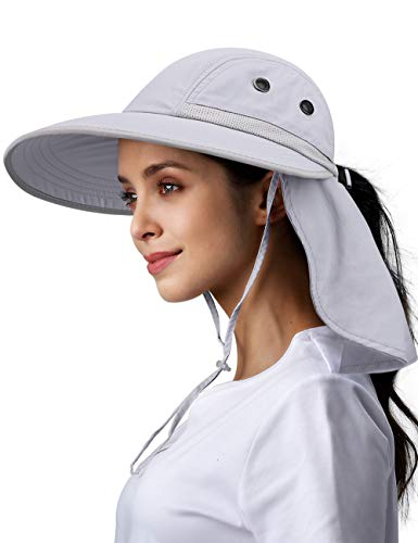 Womens Fishing Hiking Hat 100% Nylon Wide Brim Sun Hat Neck Flap...