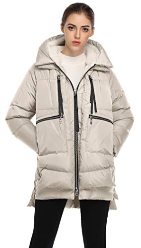 FADSHOW Women's Winter Thickened Down Jackets Long Down Coats Warm Parka with Hood,Light Beige,XS