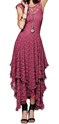 R.Vivimos Womens Sleeveless Backless Asymmetrical Layered Lace Long Dress with Slip Two Pieces (Large, Hot Pink)