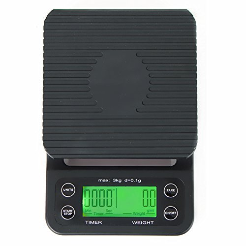 Bilancia da caffè digitale con timer e funzione tara da 0,1 g, Bilance da cucina multifunzione Bilance da cibo 6.6lb / 3kg, LCD retroilluminato verde, nero