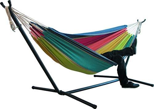Kissme Hängematte aus doppeltem Segeltuch, gestreift, mit Metallgestell-Ständer, Lazy Daze Hängematte, Lounge-Stuhl, Outdoor-Hängematte, für Garten und Terrasse (5, bringt Unterstützung)