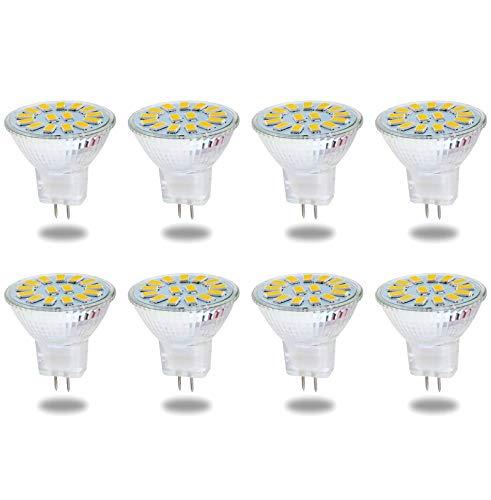 Bombillas LED GU4 MR11 de 5 W, equivalentes a lámparas halógenas de 50 W, Base GU4.0 AC/DC 12V-24V, 500 LM, Haz de inundación de 120 °, Blanco cálido 3000K, iluminación empotrada, Paquete de 8