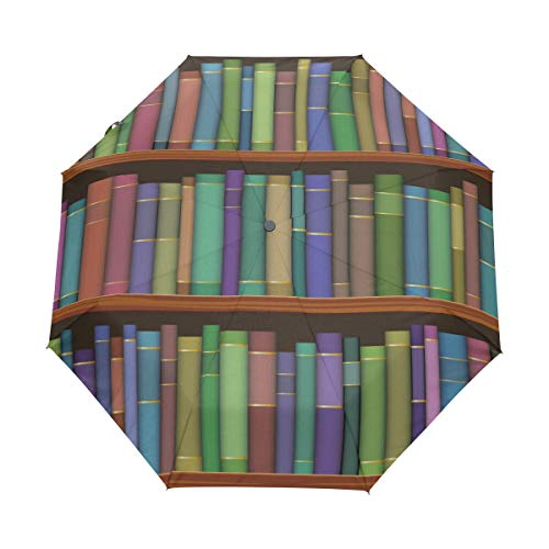 DEZIRO bibliotheek planken met oude boeken patroon drie vouw buiten?paraplu?Auto open waterdicht