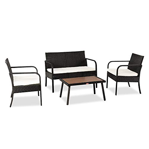 VINGLI 4 PCS Wicker Outdoor Patio Furniture Set, Rattan Patio Conversation Set with Cushions and Wood Coffee Tabletop, Outdoor Sectional Sofa Set for Garden, Backyard, Poolside (Black)