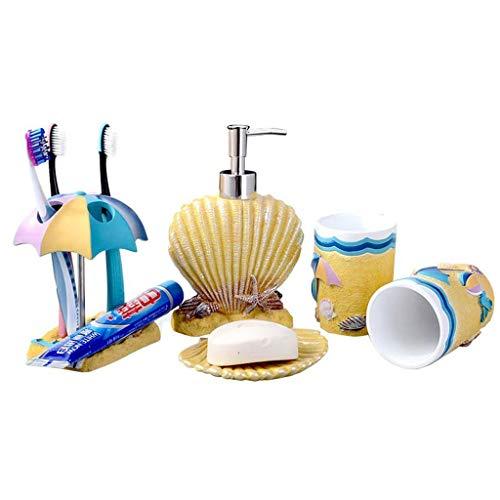 Dispensador de jabón de cocina Estilo playa manera de la resina de baño de lavado Kit de cinco piezas de baño Accesorios de baño Conjunto dispensador de jabón, cepillo de dientes titular, vaso, jabone