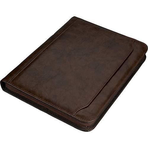 Alassio 30064 - Ringbuchmappe MASSA im DIN A4 Format, Schreibmappe aus Lederimitat, Dokumentenmappe in braun, Mappe ca. 34 x 27 x 4 cm, mit Taschenrechner