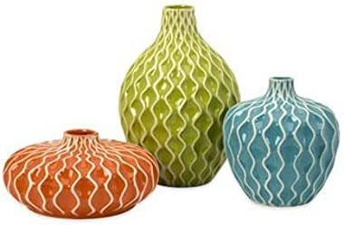 IMAX 25016-3 Agatha Ceramic Vases – Set of 3 Decorative Vases for Flowers – Handcrafted Vessels with Wave Surface Texture Des
