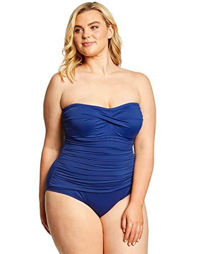 LAUREN RALPH LAUREN Plus Size Beach Club Solid Twist Bandeau One Piece Swimsuit Blue 16W
