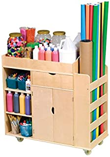 Guidecraft Art Activity Cart - Rolling Wooden Storage Cabinet and Shelves; Arts and Crafts Supply School Furniture