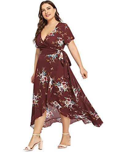 Milumia Womens Plus Size Wrap Dress Floral Boho Empire Waist Short Sleeves Party Homecoming Chiffon 2XL