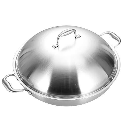 DQM RVS Wok Pan met Premium Deksel, Dikke 15 Inch Fry Pan met Ergonomisch Handvat en Antistick Krasbestendig Oppervlak Oven-Safe
