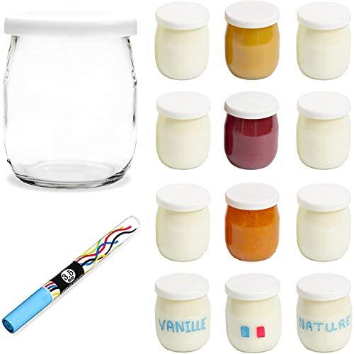 Monboco | lot de 12 Pots de yaourt en verre avec couvercles hermétiques | Fabrication Française | pour yaourtière & robots-cuiseurs (thermomix, cookeo, etc) 142 ML / 125G | Stylo effaçable Offert