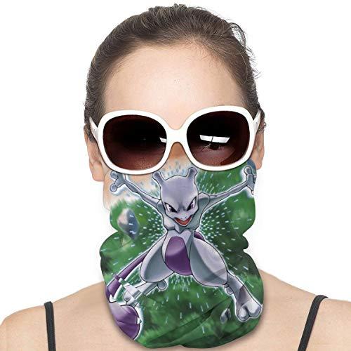 Yellowbiubiubiu Mewtwo Anime variedad de dibujos animados turbante, protección contra el polvo, para hombres y mujeres, funda para cuello, polainas para verano, ciclismo, senderismo, pesca, deportes al aire libre
