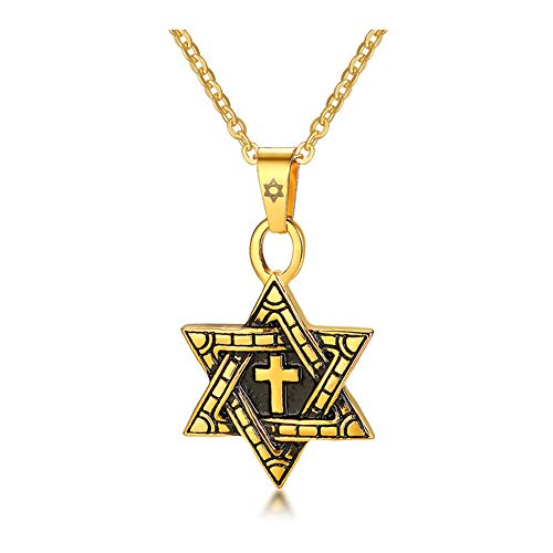 Edelstahl Sechs Zacken Stern Anhänger Gold Silber Herren Anhänger Original Schlicht Verschiedene Trendschmuck, 123, gold, Größe