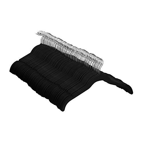 Amazon Basics - Perchas de terciopelo para camisas/vestidos - Paquete de 100, Negro