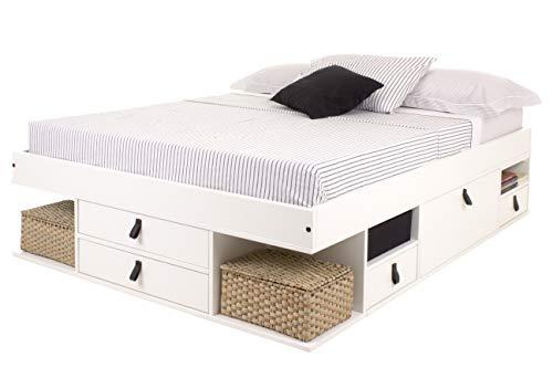 Cama Funcional Bali 140x190 cm Blanco - Estructura con Mucho Espacio de almacenaje y cajones, Ideal para dormitorios pequeños - Madera Maciza de Pino y MDF Lacado - Incl. somier de Madera
