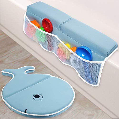 efubaby Bath Kneeler with Elbow Rest Pad Set 1.75 inch Thick Kneeling Pad Elbow Support with Toy Organizer Baby Bath Mat Bathtub Mat Fish - Shaped Cushion for Baby Infant Toddler Bathing Time