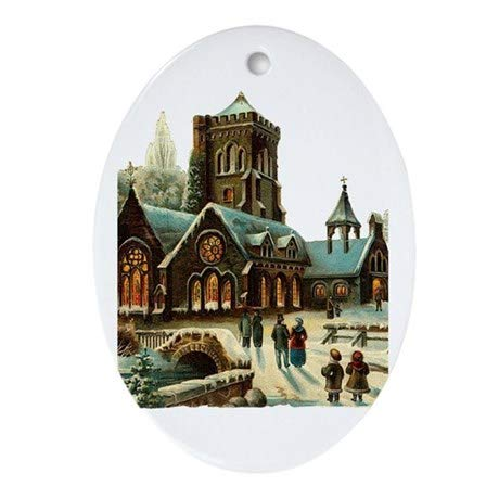 Yilooom Christmas Night - Victorian Church Scene Hanging Decoration Ornament Xmas Special Keepsake Art Display - 3