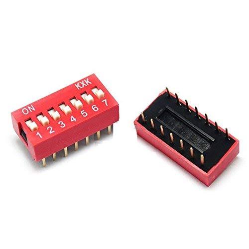 ZTSHBK Módulo de Interruptor de Tipo Deslizante de 10 Piezas, 2,54 mm, 7 bits, 7 Posiciones, Paso Rojo Dip