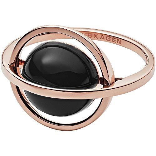 Skagen Damen-Ringe Edelstahl mit Rund Onyx '- Ringgröße 50 SKJ1148791-5.5