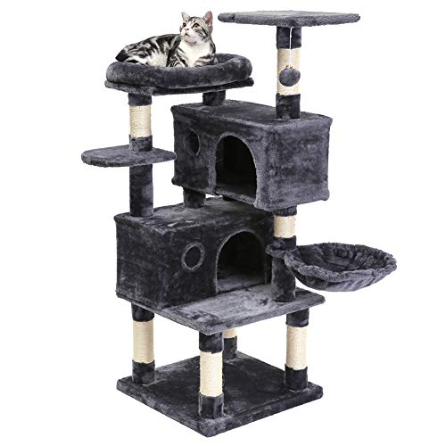 SUPERJARE Cat Tree Condo Furniture with Scratching Posts, Plush Cozy Perch and Dangling Balls, Multi-Level Kitten Tower - Dark Gray