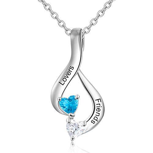 KAULULU Personalizado Collar Mujer con 2 Corazón Simulado Piedras para Madre BFF con 2 Niños Nombres Grabado Joyería Mama Regalos de Cumpleaños