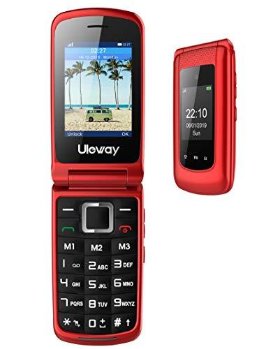 3G Cellulare per Anzian Telefono per Anziani a Conchiglia, Tasti Grandi,2.4'' Display,Dual SIM Volume Alto,Funzione SOS, Dual Display FM Radio Torcia Telefonino Regalo per Nonn.(Rosso)