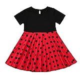 MRULIC Mädchen Abendkleid Vintage Kleid Party Kleid Kostüme Kleider Swing Rockabilly Kleider mit Halskette Größe 6-12 Jahre Kindergarten Uniform(1-Rot,110)
