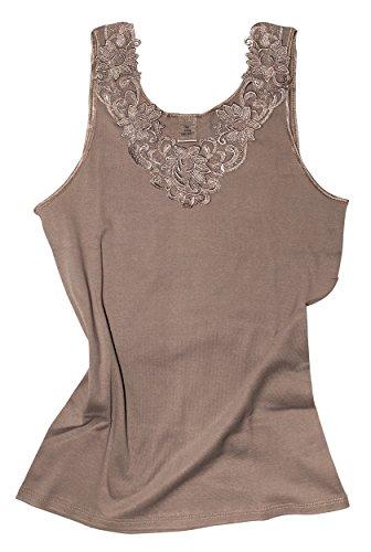 Camiseta para mujer, de algodón peinado con encaje extragrande, sin costuras laterales pardo 46/48