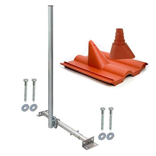 SkyRevolt Aufdachsparrenhalter SAT TV Dachsparrenhalter 120cm Kabeleinführung Mast 48mm Aufdach Sparrenhalterung für Satellitenschüssel | Dachmontage-Set
