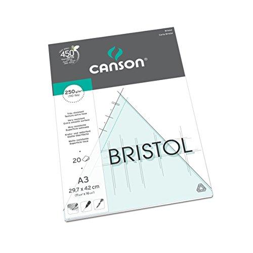 Canson - Carta da disegno Bristol Graphic Arts, 20 fogli, colore: bianco A3-29.7 x 42 cm Extra-White