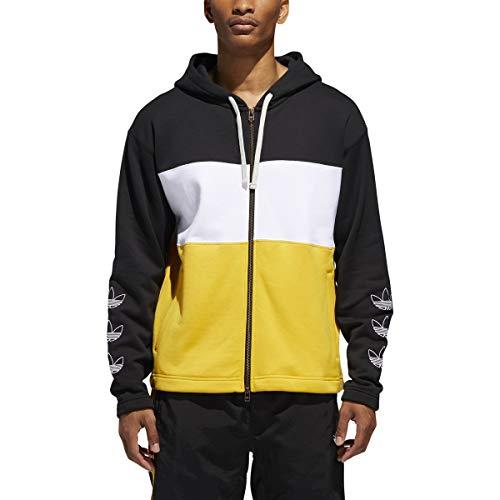adidas Herren-Sweatshirt mit Reißverschluss, Schwarz / Weiß / Gold, Größe S