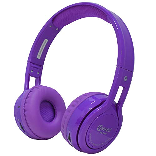 Contixo KB2600 Kids Over The Ear Foldable Bluetooth Headphones Kids Safe 85dB with Volume Limiter, Built-in Microphone, Micro SD Card Slot, FM Stereo Radio, Phone Controls (Purple)