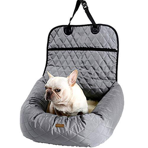 Gyj&mmm Lit pour Chien Car Seat Cover Car Pet Booster Seat 2 en 1 Façade Arrière Protecteur Pet Lookout Car Seat Portable Voyage,Gris