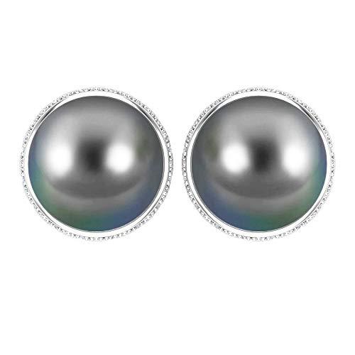 Rosec Jewels 14 quilates oro blanco redonda round-brilliant-shape H-I Black Diamond Perla de Tahití