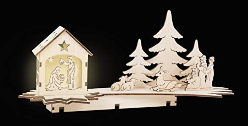 Kleine voetlamp kerststal in de vorm van een vallende ster, gesneden kerststal van natuurlijk hout met LED-verlichting, kerstdecoratie met de heilige drie koningen decoratieartikelen, natuur
