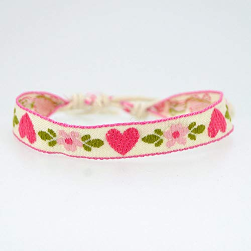 ANGYANG Woven Bracelet,Chic Pink Heart Fabric Embroidery Floral Weave Beige Adjustable Charm Bracelets Ethnic Jewelry Friendship Gift For Boy Girl Couples Men Women