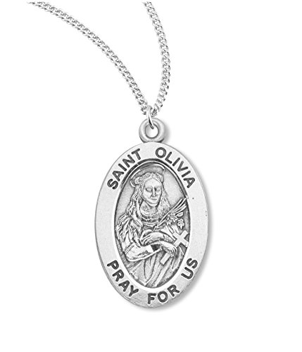 BERTOF SAINT OLIVIA Patron Saint Medal 100% Sterling Silver With Copyrighted Paul Herbert Blessing SILPATRON Series