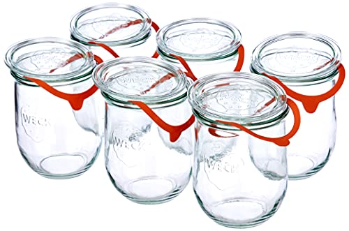 Weck Tulpenglas 1 Liter im 6er Set DECKL, Dichtring Klammern, Glas, Durchsichtig, 6 x