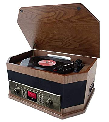 ION Audio Octave LP - 8-in-1 Bluetooth Streaming Turntable / Vinyl Record Player with Built-In Speakers and USB Playback / Recording - Wood