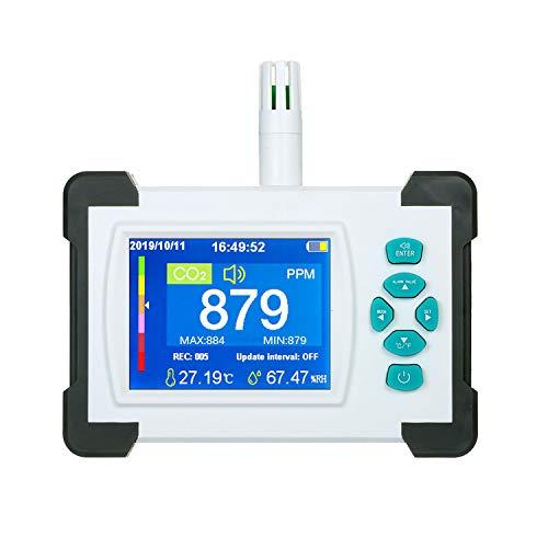 Medidor de co2,Con Funci/ón de Alarma Inteligente,Detector de Di/óxido de Carbono,Co2 Detector Analizador de Gases co2 con Term/ómetro y Higr/ómetr Black