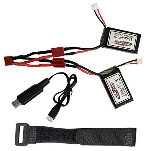 FBGood 2 Stück Ferngesteuertes Auto Ersatzakkus + Doppelelektrisches Verbindungskabel + Bügel + USB, Langlebig Auto Batteries Zubehör für XLH Q901 1/16 proportionales RC Auto Ersatzteile