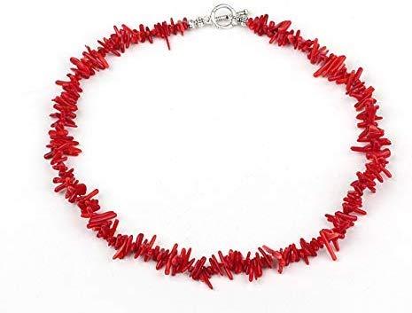 TreasureBay Korallen-Halskette mit Karabinerverschluss, rot, Länge 46cm
