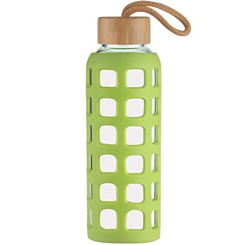 Cleesmil Sport Trinkflasche Glas Wasserflasche mit Silikonhülle mit Bambus Deckel 1000 ml (Grasgrün)